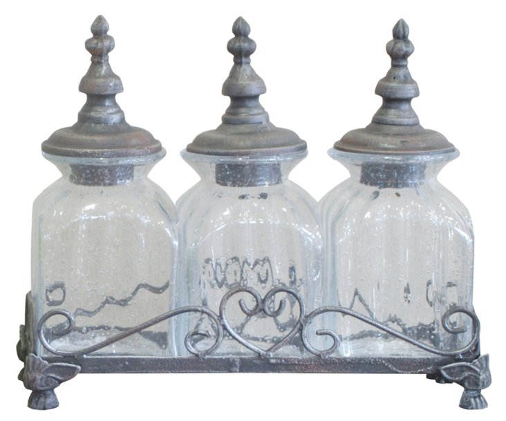 Charming Glass Canisters w/ tray