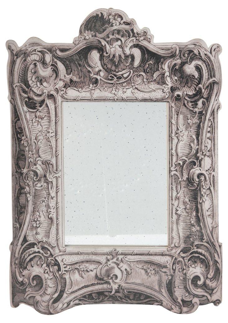 Magnolia Wall Mirror, Aged White