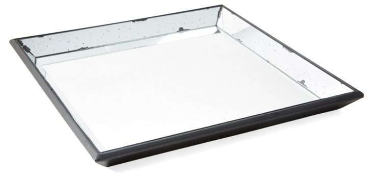 """24"""" Mirrored Wood Tray, Square"""