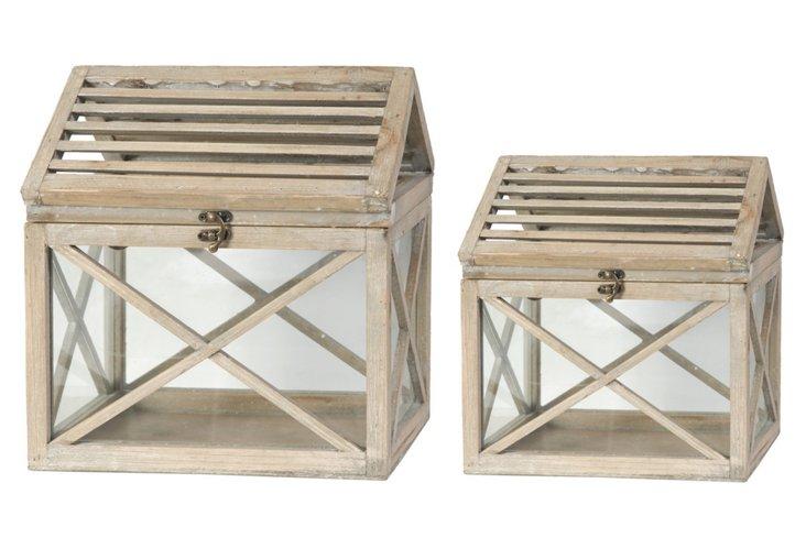 S/2 Wooden Terrariums