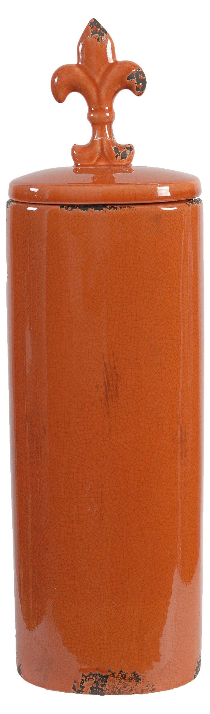 Ceramic Fleur-de-Lis Cottage Jar
