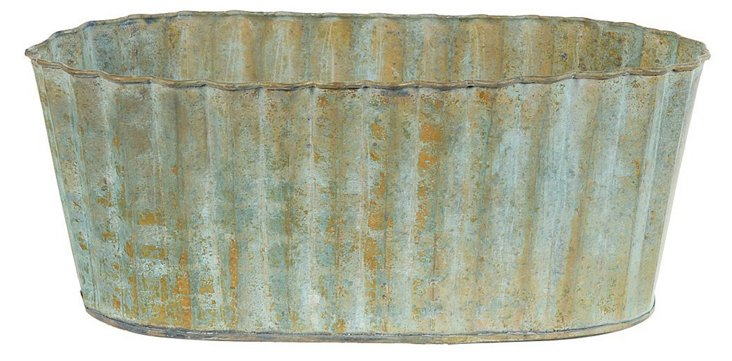 "S/2 10"" Corrugated Rustic Planters, Blue"