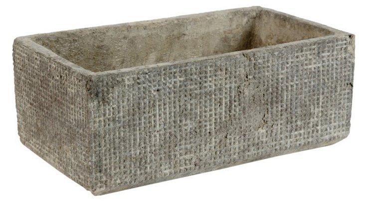 "14"" Grazed Cement Planter, Gray"