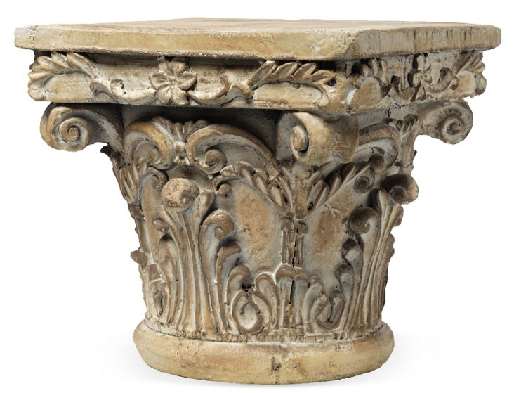 "10"" Corinthian Column Pedestal, Beige"