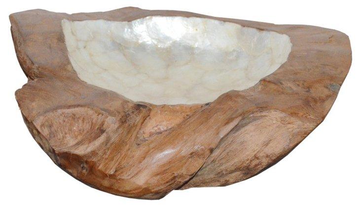 """12"""" Decorative Teak Bowl, Brown"""