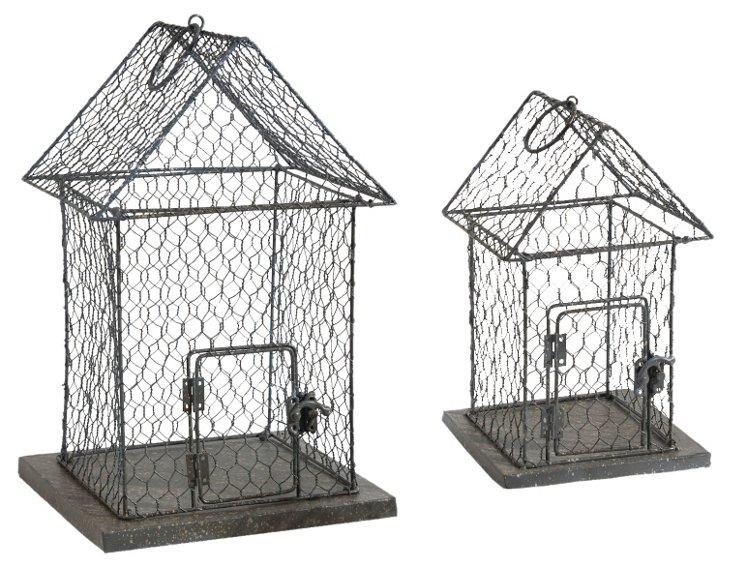 S/2 House Cage Lanterns