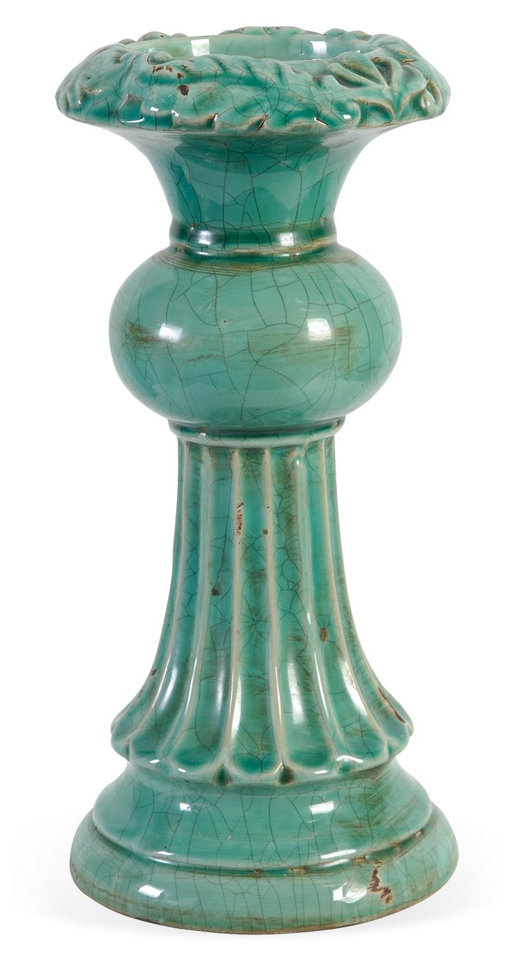 """11"""" Aqua Candleholder"""