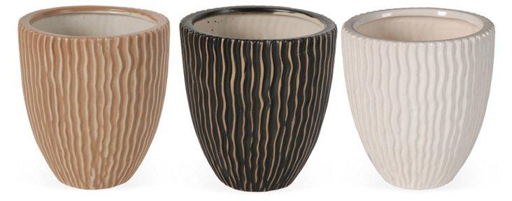 Asst. of 3 Textured Ceramic Planters