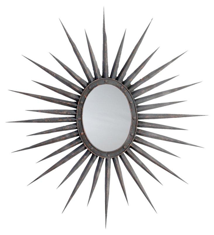 Star Wall Mirror, Rusted Black