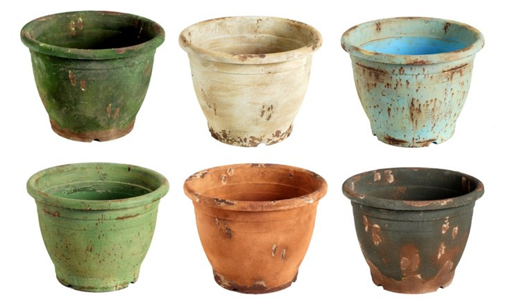 "Asst. of 6 13"" Bright Rustic Planters"