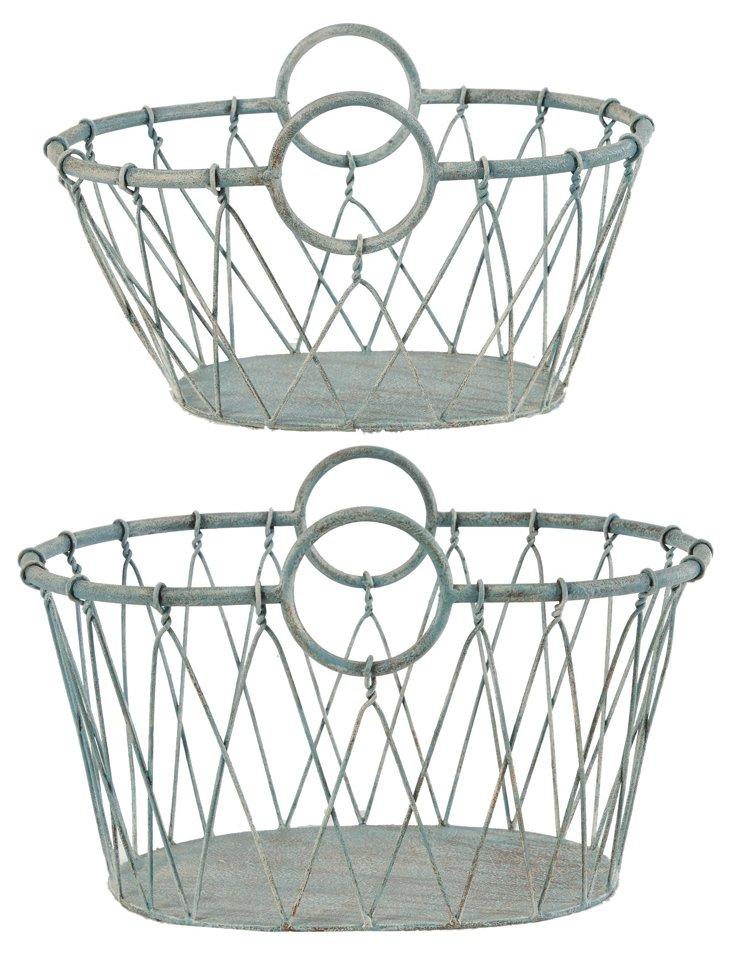 Asst of 2 Verdigris Baskets