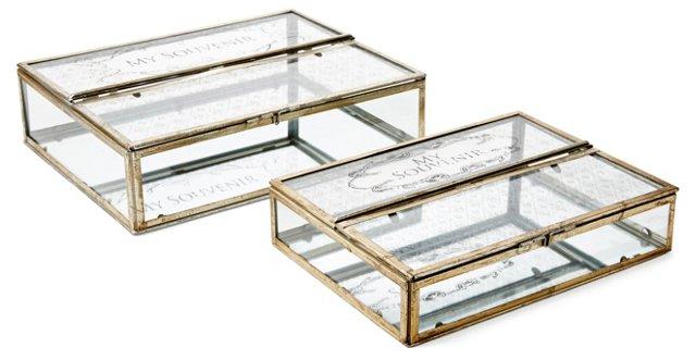 Asst. of 2 Trinket Boxes, Gold