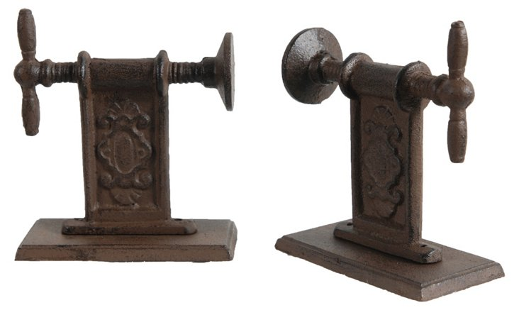 Pair of Vice-Grip Bookends, Brown