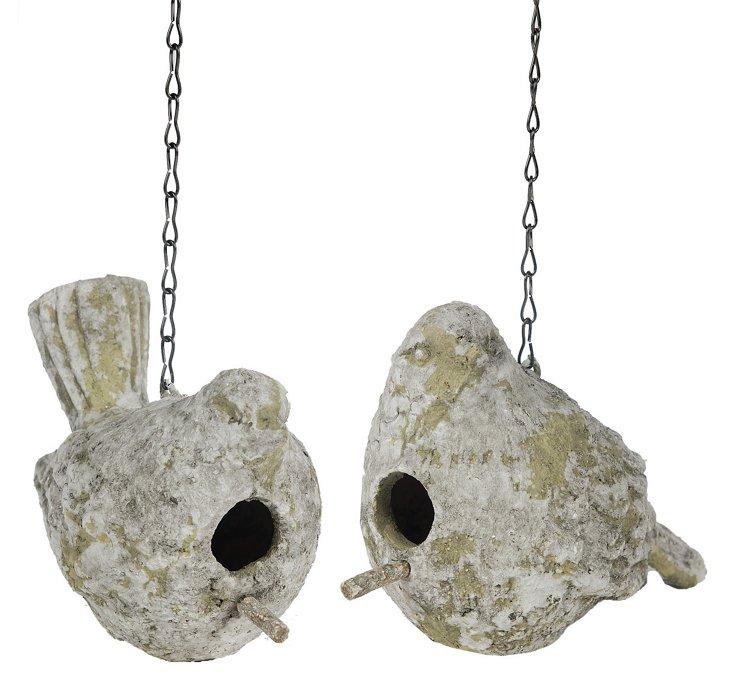 Ceramic Dove Birdhouses, Asst. of 2