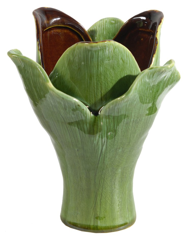 "6"" Succulent Vase, Green/Amber"