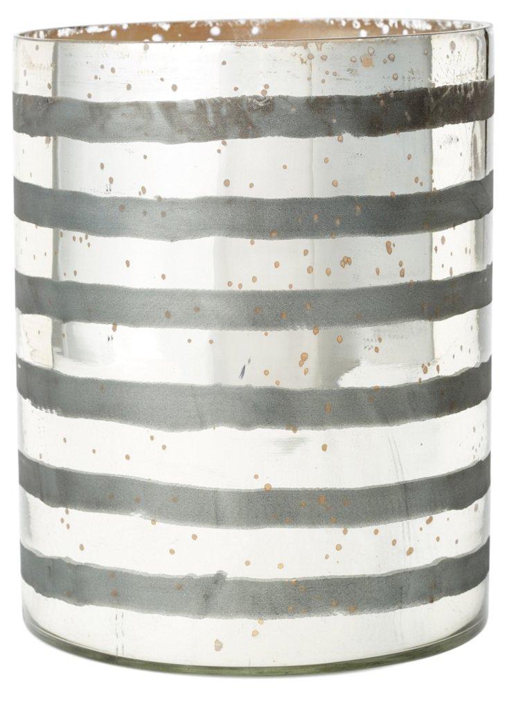 "9"" Striped Glass Vase, Silver"
