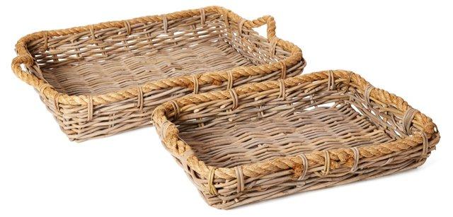 Asst of 2 Wicker Basket Trays