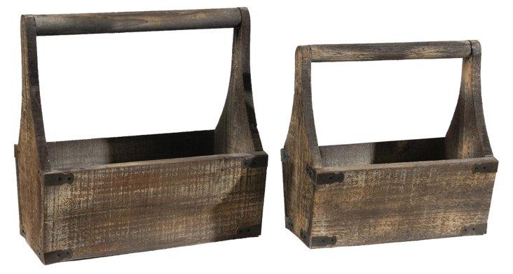 Asst. of 2 Wooden Bucket Planters