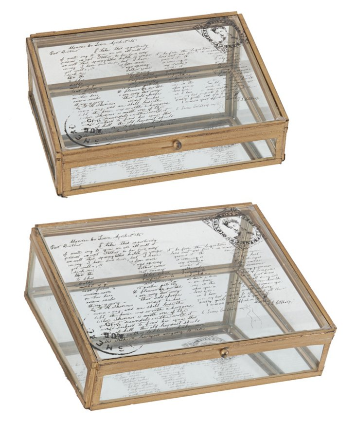 Asst. of 2 Glass Postcard Boxes, Gold