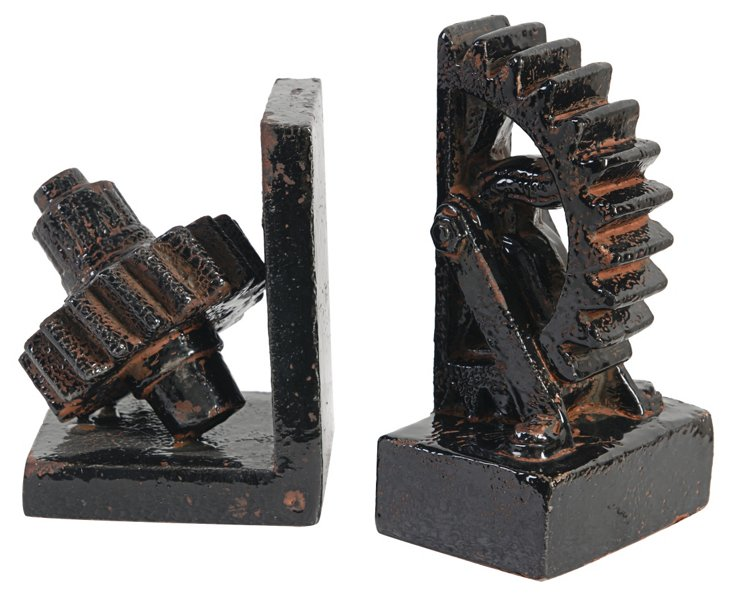 Pair of Gear Bookends, Black