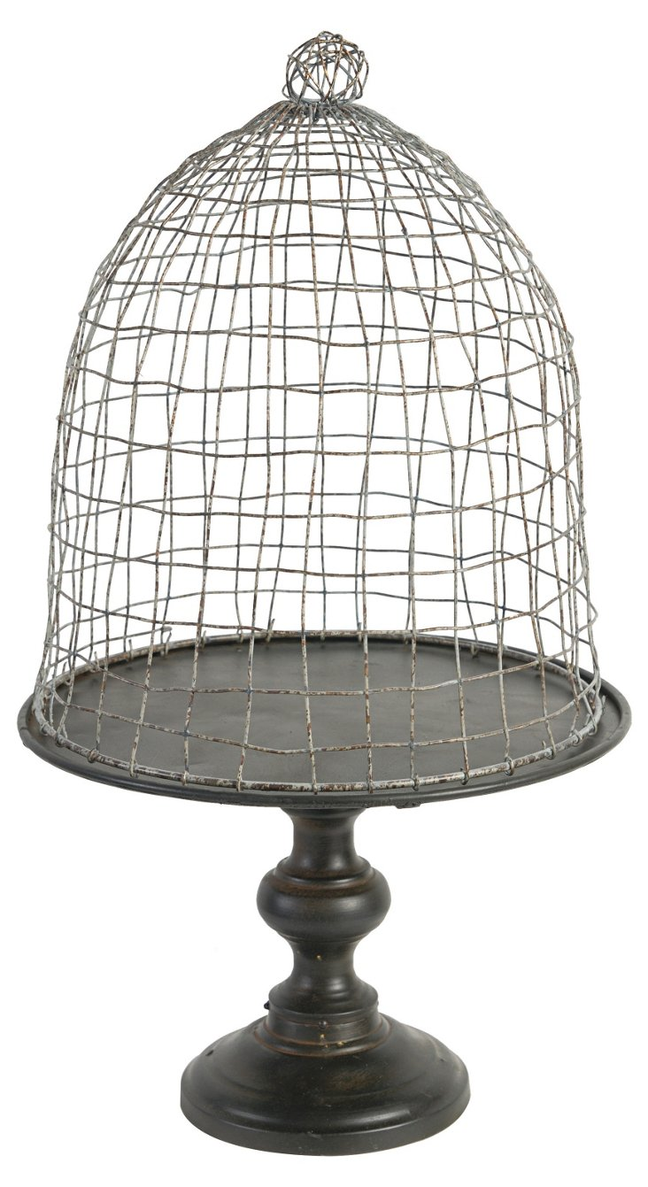 "23"" Birdcage Cloche, Silver"
