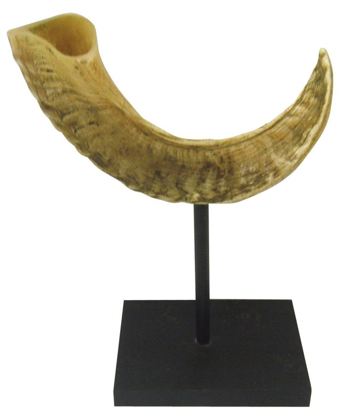 "10"" Horn Objet on Stand, Brown/Cream"
