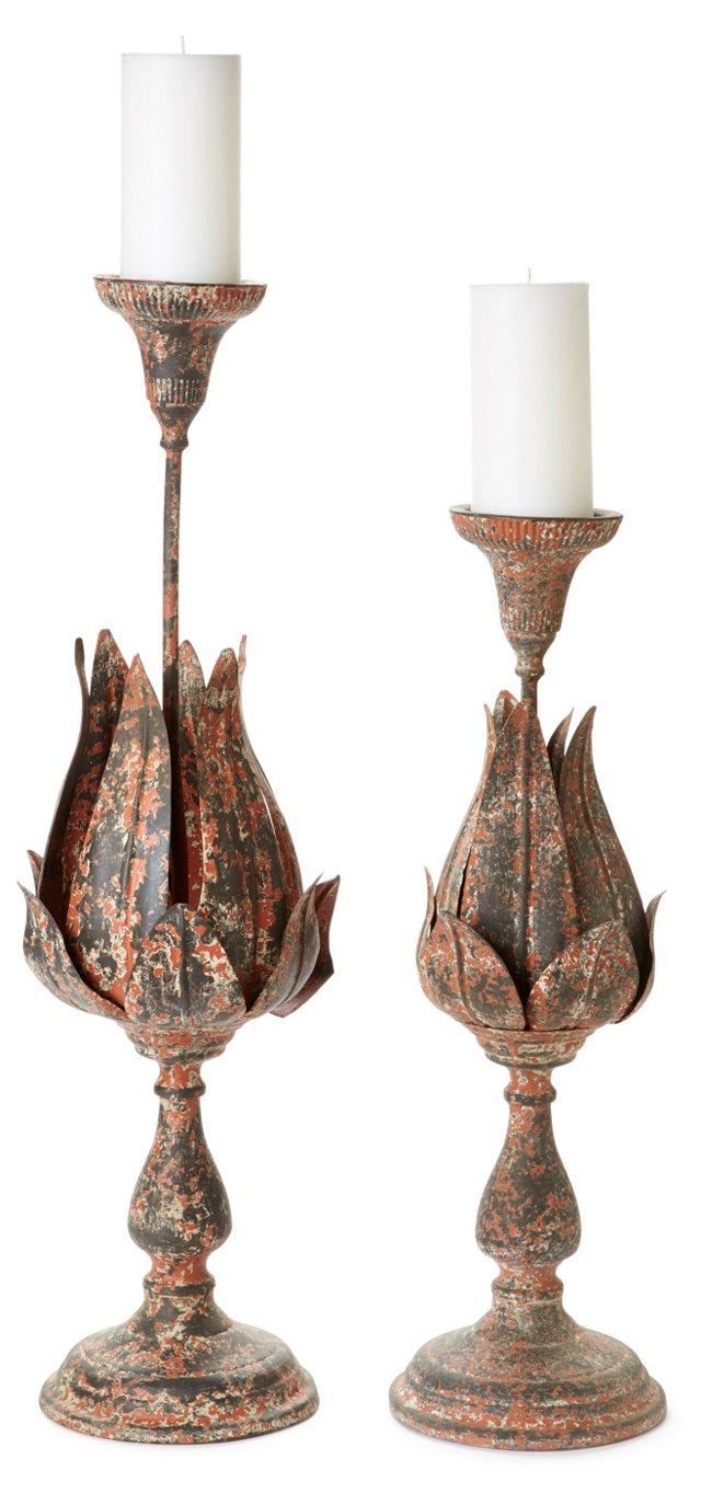 Asst. of 2 Floral Candleholders, Rust