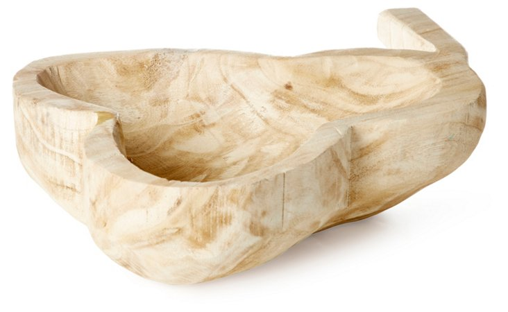 "19"" Pear-Shaped Decorative Bowl, Brown"