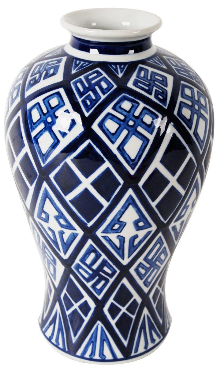 """13"""" Ceramic Vase, Blue/White"""