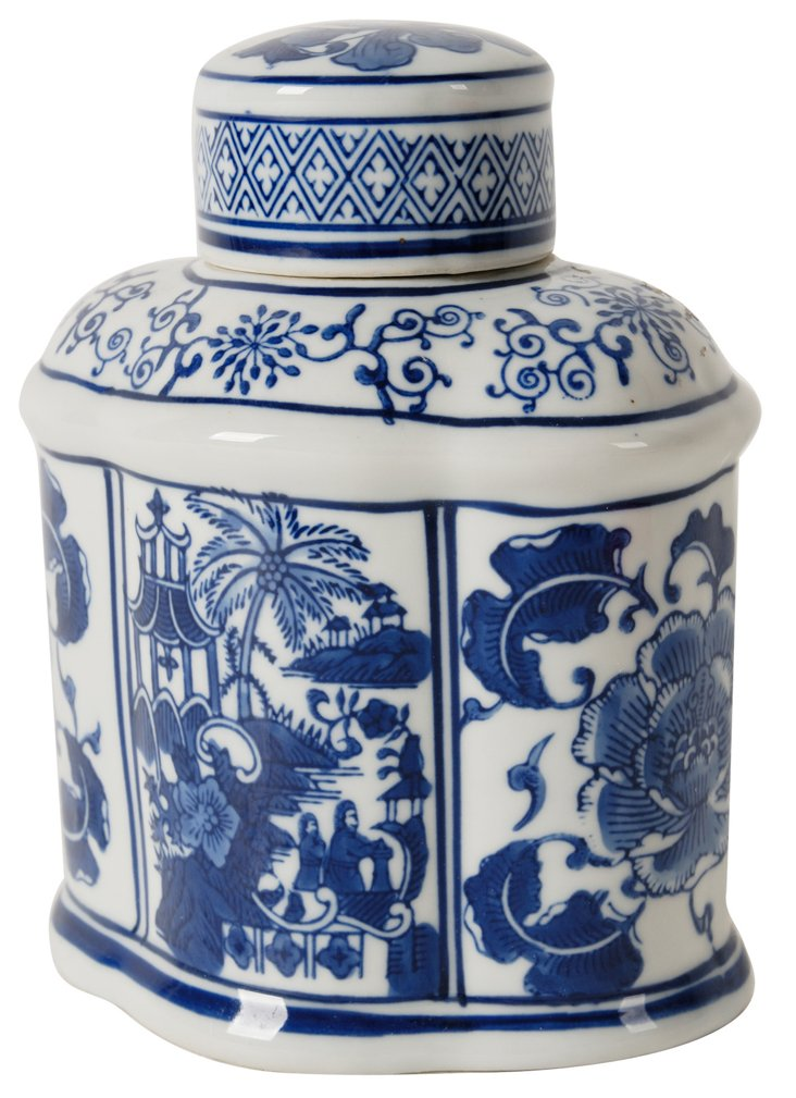 "8"" Ceramic Lidded Jar, Blue/White"