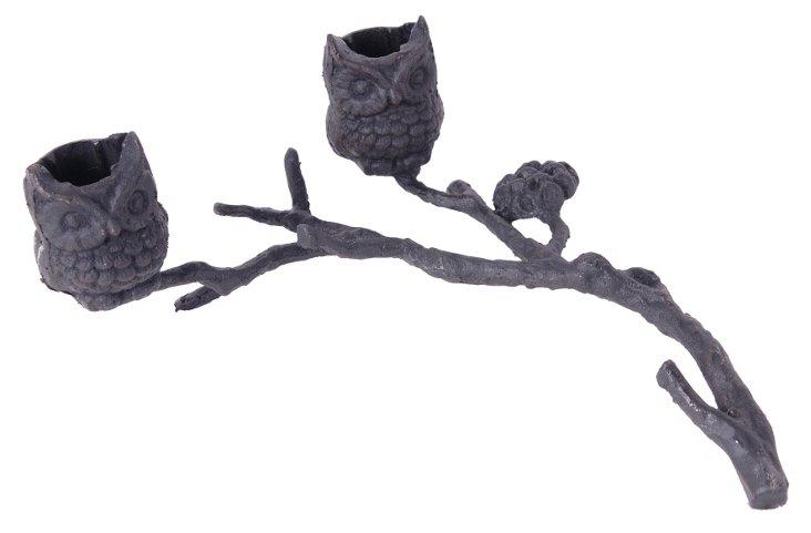 "10"" Cast Iron Owl Candleholder, Black"