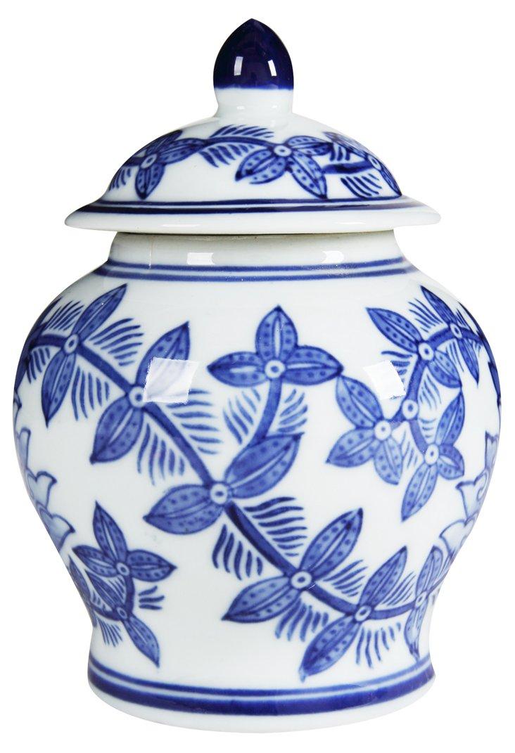 Set of 3 Ginger Jars, Blue/White
