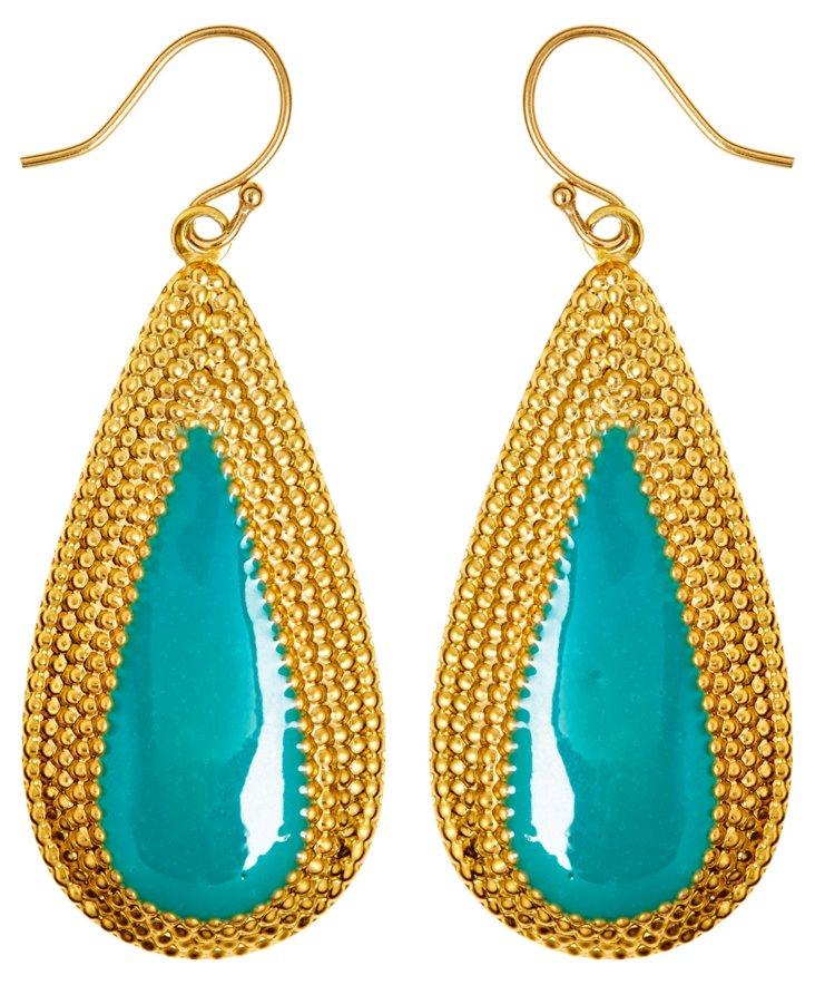 Long Teardrop Turquoise Earrings
