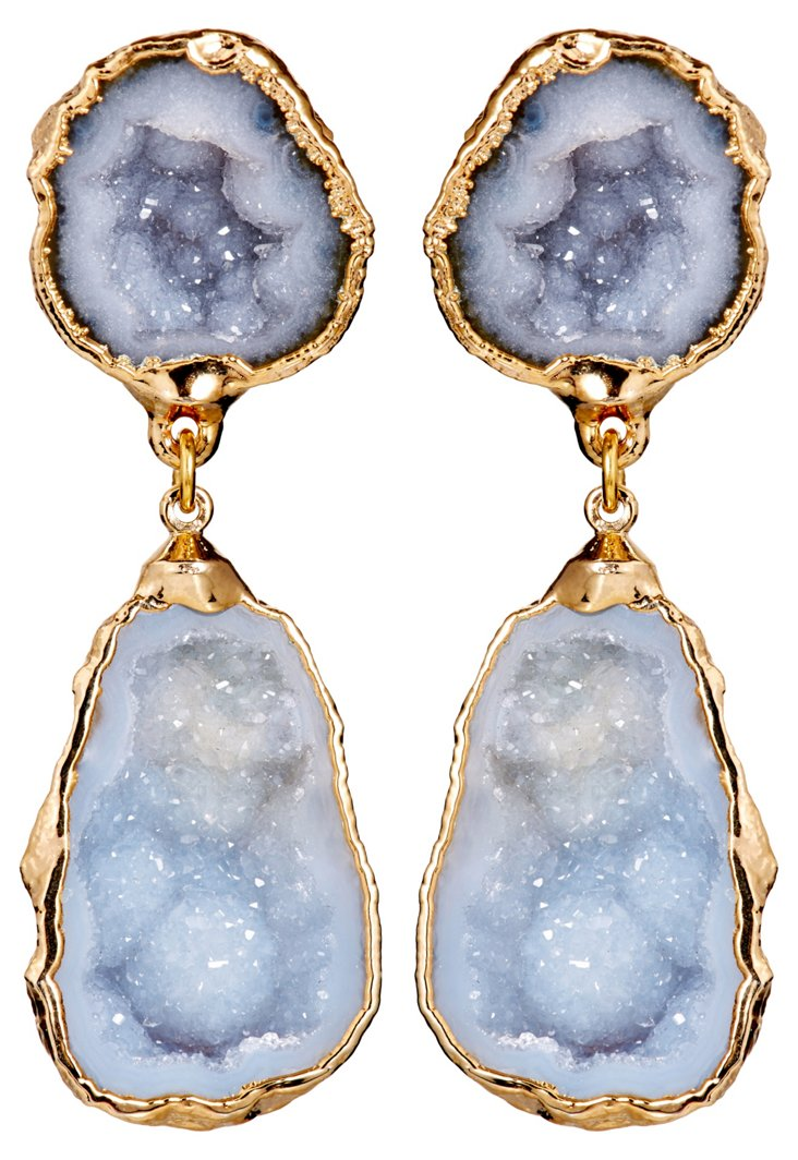 Gray Geode Merle Earrings