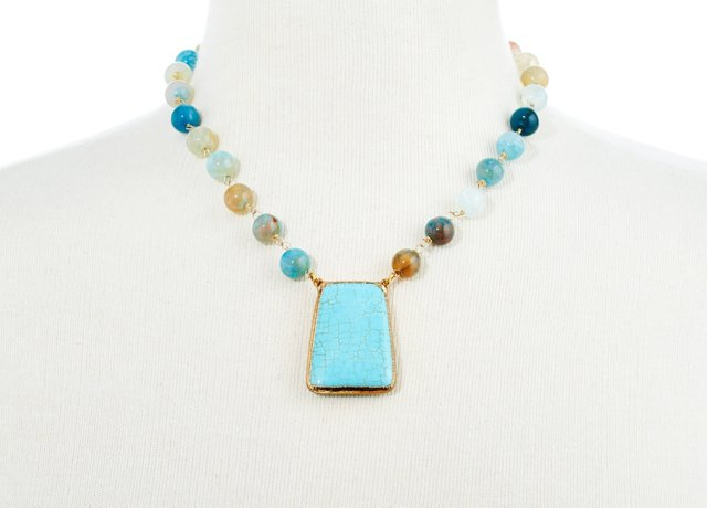 Ocean Agate & Turquoise Taya Necklace