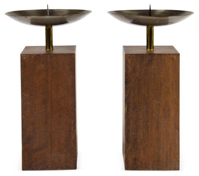 Brass & Metal Candleholders, Pair