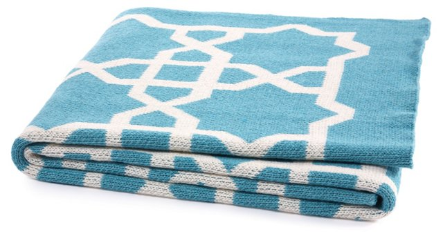 Moroccan Cotton-Blend Throw, Cerulean