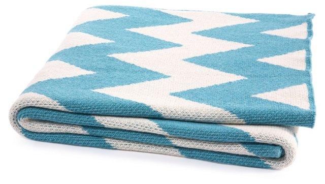 Zigzag Cotton-Blend Throw, Cerulean