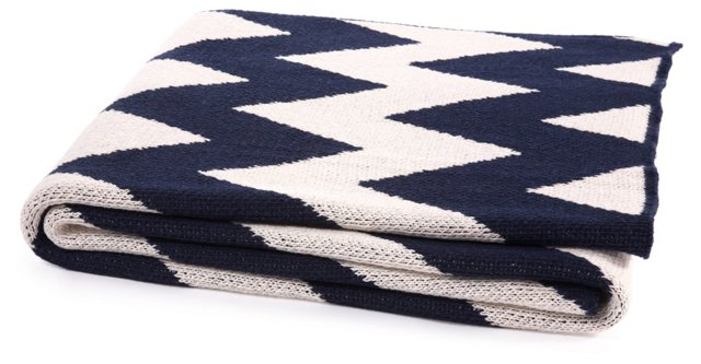 Zigzag Cotton-Blend Throw, Marine