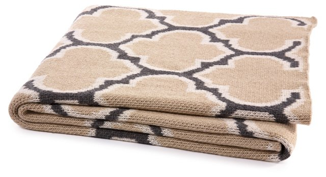 Trellis Cotton-Blend Throw, Taupe