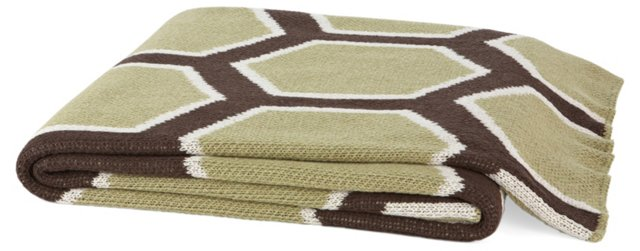 Honeycomb Cotton-Blend Throw, Sage