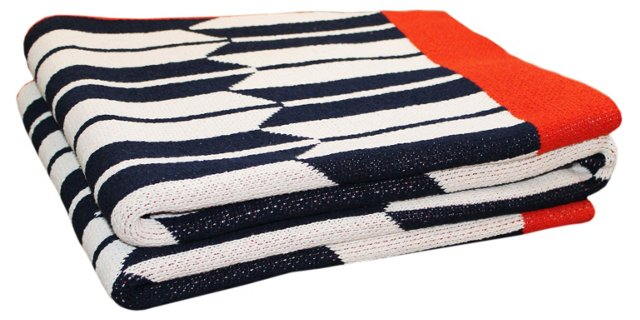 Kasuri Cotton-Blended Throw, Navy