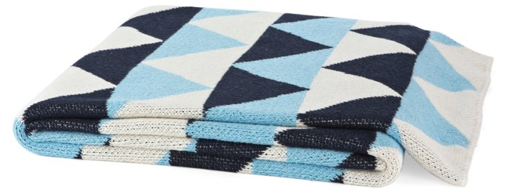 Triangle Cotton-Blend Throw, Sky Blue