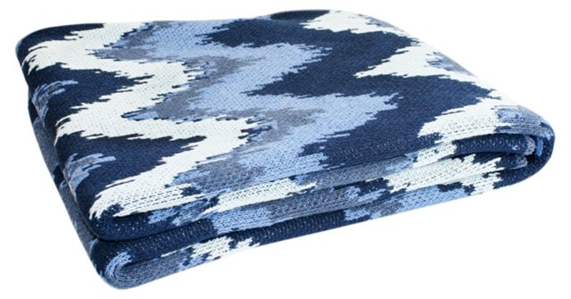 Fuego Cotton-Blended Throw, Blue