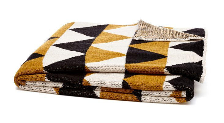 Triangle Cotton-Blend Throw, Gold