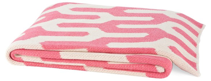 Tribal Cotton-Blend Throw, Pink