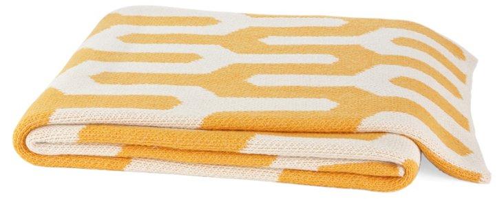 Tribal Cotton-Blend Throw, Yellow