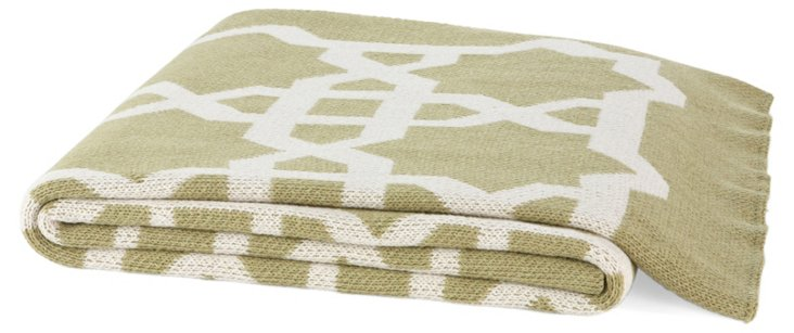 Fretwork Cotton-Blended Throw, Sage