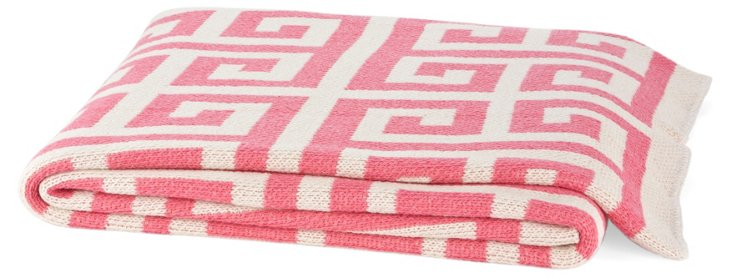 Greek Key Cotton-Blend Throw, Pink