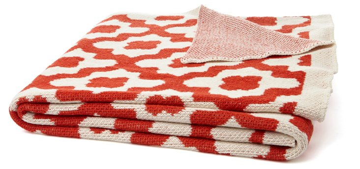 Andalusia Cotton-Blended Throw, Paprika
